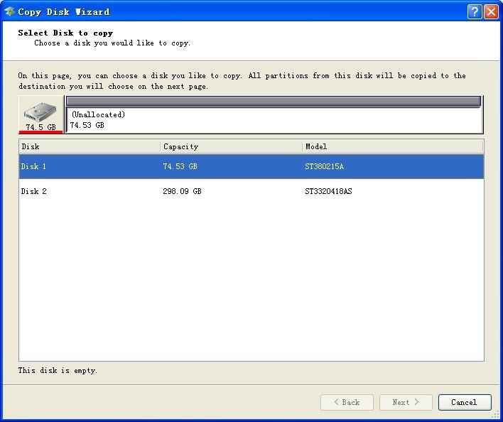 MiniTool Drive Copy screenshot